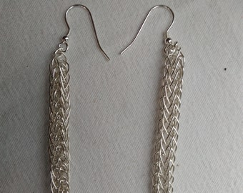 Viking woven silver earrings