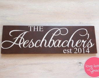 Last Name Sign - Family Name Wood Sign, Established Date Sign - Wedding Sign - Gift for Newlyweds - Wedding Gift - Personalized Wood Sign