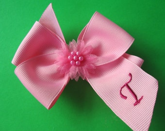 Single Boutique Personalized Hair Bow, Choose Color 4 inch Hair Bow with Tail. Embroidery Hair Bow. Initial Hairbow.