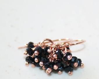Dainty Black Onyx Cluster Earrings, 14K Rose Gold Filled, Faceted Black Gemstone Earrings, Christmas Gift