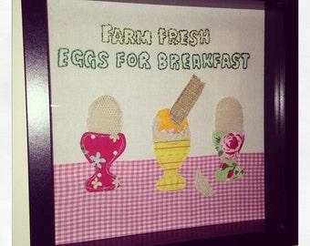 Farm Fresh Eggs, Framed Kitchen Wall Art.  Mixed Media Collage.