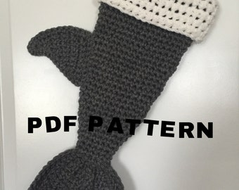 PDF Crochet Pattern Shark Stocking