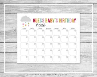Rainbow Showers Baby Shower Guess Baby's Birthday - Printable Baby Shower Guess Baby's Birthday Game - Rainbow Baby Shower - SP100