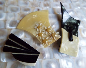 Trio of French Celluloid Dress Clips~Art Deco Pearlised Celluloid