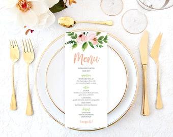 Peach Wedding Menu, Printable Wedding Menu, Floral Wedding Menu, Wedding Menu Cards, Rustic Wedding Menu, Bohemian Wedding Menu WTCW