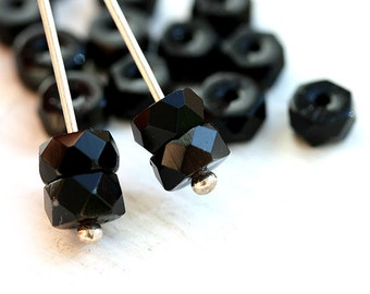 Black Rondelle beads, fire polished czech glass faceted spacers - 6x3mm - 25Pc - 2904