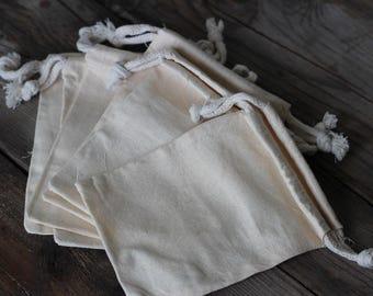 6 Cotton muslin drawstring pouches, 4 x 6 drawstring bag,  fabric bag,