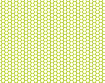 SALE ! Honeycomb Dot from Riley Blake Designs  > C680-32 LIME < White Honeycomb Dot On Lime < Fabric by the Yard