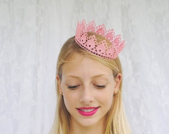 "Pastel Pink Princess Lace Crown - ""Small Floret"" - fairytale, royalty, birthday crown, bridal crown, bachelorette party"