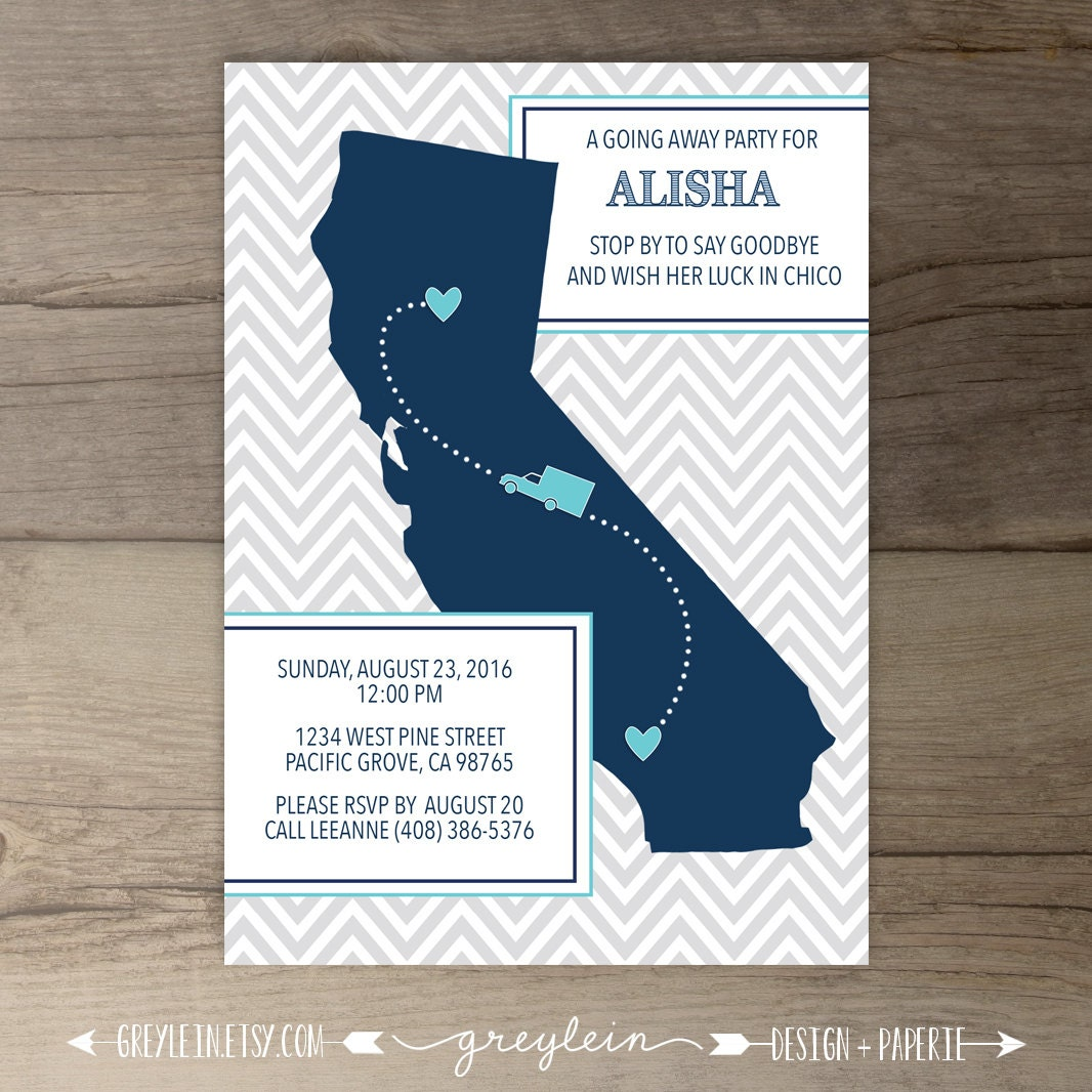 Going Away Party Invitations / Invites / Single State / Moving