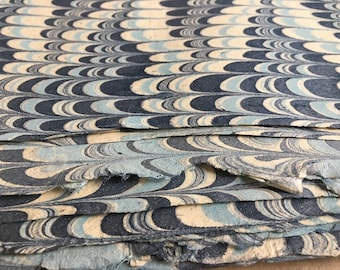 Wavy Blue  Full Sheets Marbled Sunn Hemp Paper, Artisan made Islamic Hemp paper, navy blue cream marbled book binding cover or end papers