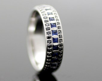 Eternal Night - Sapphire in 14k bold blue and black wedding band - Eternity ring