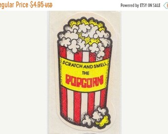 SALE Vintage Mello Smello Scratch and Sniff Popcorn Sticker - 80's Scented