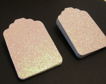 5, 10, 25, White Glitter Tags - Favor Tags - Price tags - Jewelry Tag - Thank You Tags - Wedding - Bridal Shower Tag - Gift Tags