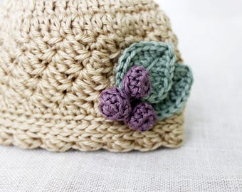 Crochet Pattern, Baby Hat Pattern, Crochet Hat Pattern for Baby Girl, Newborn Hat Pattern, Baby Girl Crochet Hat Pattern with Berries