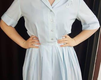 1940s Vintage Dress, Baby Blue Button-up Dress, Vintage Swing Dress, 1940s Fashion Dress, Vintage Dress, Spring Dress, Vintage Formal, 1940s