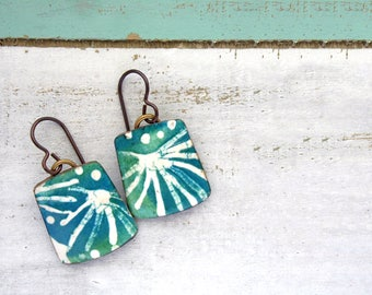Polymer Clay Earrings Jewelry featuring an Abstract Frond Design in Teal, Turquoise and White