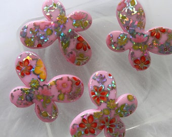 set of 2 pink butterfly beads