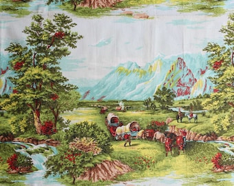 50s Scenic Novelty Print Cotton Fabric - 1.25 Yards x 41.5 Inches - Rocky Mountains - 1950s Currier & Ives Repro - Four Full Repeats - 46707