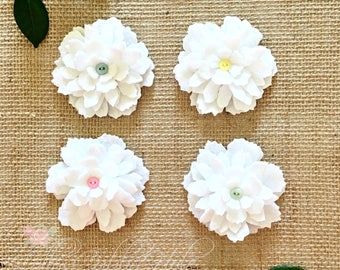White Felt Flowers - Frilly Felt Flower Pin - Fashion Accessory -  White Felt Flower Brooch - Pastel Flowers - Felt Craft Flowers