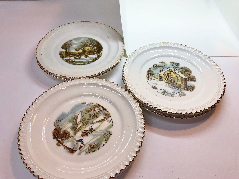 Harkerware Vintage Plates - homestead in winter - farmer\'s home ...
