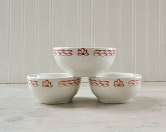 Vintage Iroquois Syracuse China Bowls - Set of 3 White and Red Restaurantware Cereal Dish