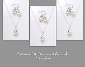 Set of 3 - Swarovski White Pearl Necklace and Earring Set, Bridesmaid Jewelry Set, Bridal Jewelry, Bridesmaid Gift
