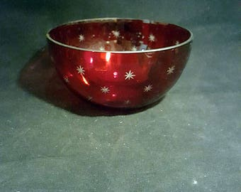 SALE...Rudy Red Flashed Bowl, Cut to Clear Stars