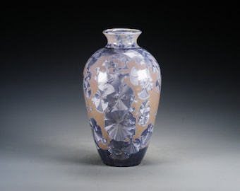 Porcelain Vase - Blue-Gray, Tan - Crystalline Glaze - Hand-Made, High-Fired Pottery  - SHIPPING INCLUDED  - #A-5396