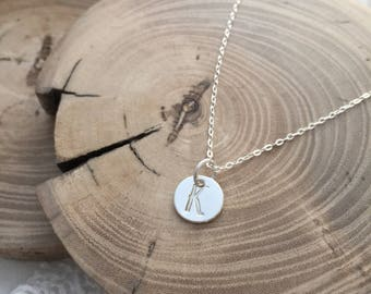 Sterling Silver Initial Necklace, Letter Necklace, Stamped Necklace, Monogram Necklace