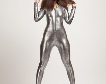 Metallic Silver Anaconda Print Bodysuit for Reptilians and Humans Alike