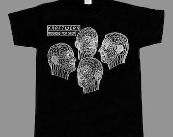 kraftwerk musique/music non stop robots krautrock synth  short - long sleeve new black t-shirt