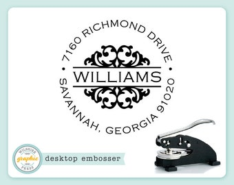Embosser - WILLIAMS Style - Desk Model - Personalized Return Address - Embossing Stamp Seal - Wedding Housewarming Gift