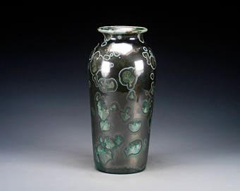 Ceramic Vase - Black, Green - Crystalline Glaze on High-Fired Porcelain - Hand Made Pottery - FREE SHIPPING - #E-1-5380