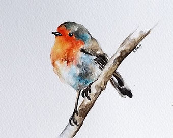 Original Watercolor Painting, Robin Bird Illustration, Cute little Bird Painting 6x8 Inch