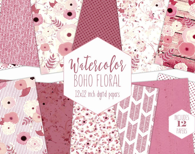 PINK & CREAM FLORAL Digital Paper Pack Metallic Flower Backgrounds Commercial Use Watercolor Scrapbook Paper Boho Chic Wood Wedding Patterns
