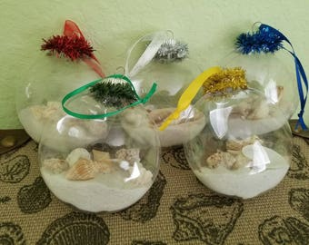 Seashell filled round disc plastic ornaments