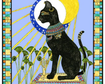 Bast Bastet Egyptian Cat Goddess Art Print Feline Mythology Sun and Moon Altar Decor Pen and Ink Watercolour Illustration
