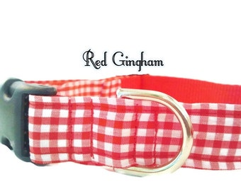 Dog Collar, Red and White Gingham, Adjustable Sizes in small. medium, large, extra large Handmade