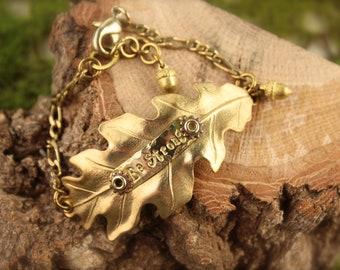 Oak Acorn Be Strong Brass Steampunk Bracelet