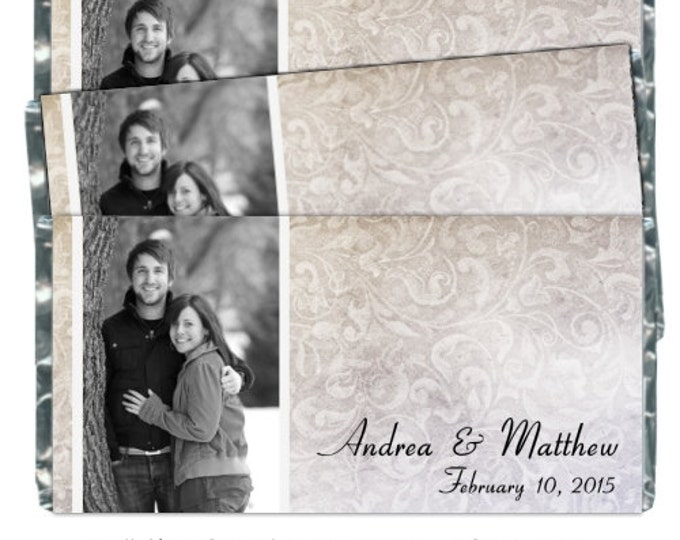 YOU PRINT - Wedding Candy Wrappers, Photo Candy Wrappers - fit over chocolate bars - CUSTOM design for you - bridal shower, wedding shower