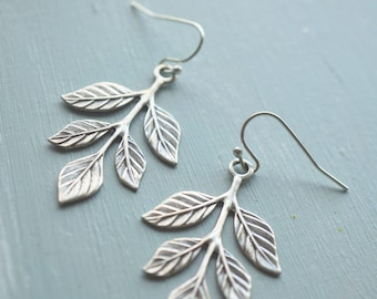 Earrings, silver leaf branch earrings.
