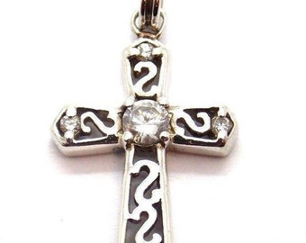 Cross Pendant Charm With Clear Stone In The Center .925 Sterling Silver