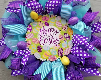 """Happy Easter welcome Wreath Easter Wreath Home office wreath 26"""" Wreath"""
