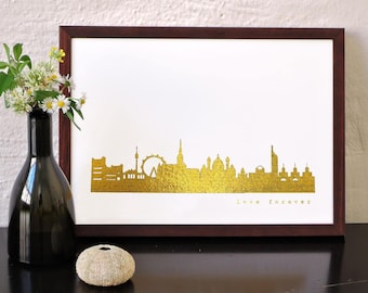 "Unique VIENNA ""Love Forever"" Honeymoon Poster, gold foil Vienna skyline, modern hygge artwork, golden Vienna print, wedding card, engagement"