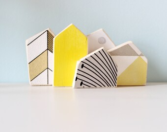 Yellow small houses, Wooden small houses, Small houses decor, Table decor, Design decoration, Wedding gift idea, Gift for her, Gift for kids