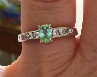 Natural neon paraiba tourmaline and white sapphire in white gold size N