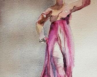 Tanagra, Greek statue, original watercolor painting