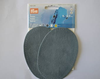 elbow reinforcements imitation Grey Slate Blue Suede 9x13.5 cm has iron or sewing for repair/customization prym 929339