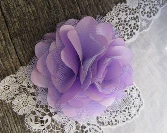 Light Purple Satin and Tulle Flower. 1 pc. GISELLE Collection.
